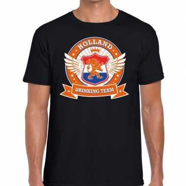 Zwart holland drinking team t-shirt heren