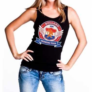 Zwart holland drinking team tanktop / mouwloos shirt dames