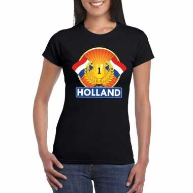 Zwart holland supporter kampioen shirt dames