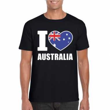 Zwart i love australie fan shirt heren