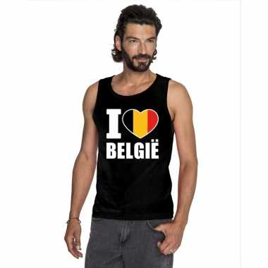 Zwart i love belgie fan singlet shirt/ tanktop heren