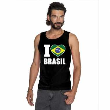 Zwart i love brazilie fan singlet shirt/ tanktop heren