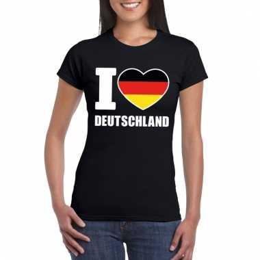 Zwart i love duitsland fan shirt dames