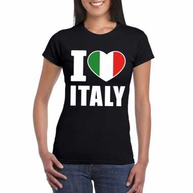 Zwart i love italie fan shirt dames