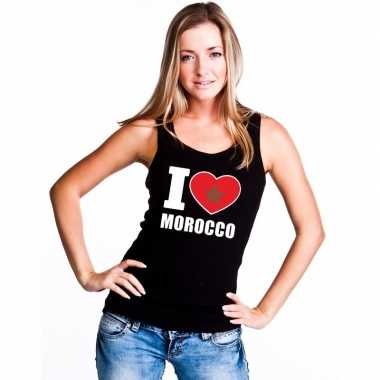 Zwart i love marokko fan singlet shirt/ tanktop dames