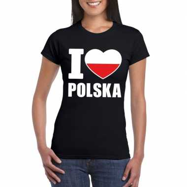 Zwart i love polen fan shirt dames