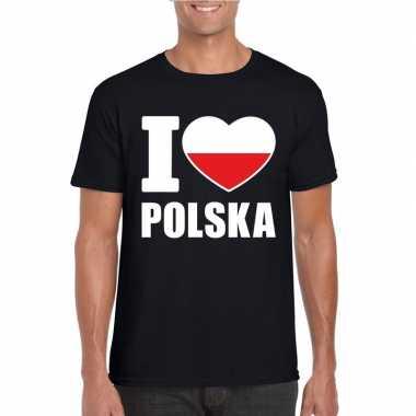 Zwart i love polen fan shirt heren