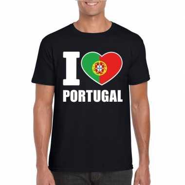 Zwart i love portugal fan shirt heren