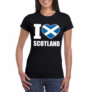 Zwart i love schotland fan shirt dames