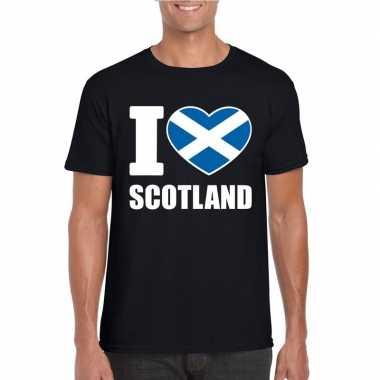 Zwart i love schotland fan shirt heren