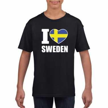 Zwart i love zweden fan shirt kinderen