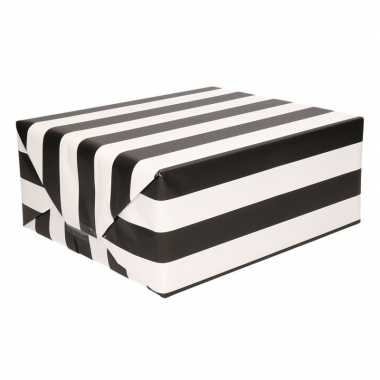 Zwart inpakpapier met witte strepen 200 cm