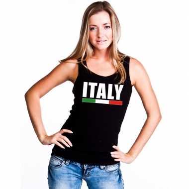 Zwart italie supporter singlet shirt/ tanktop dames