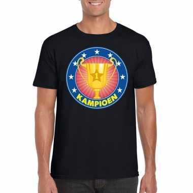 Zwart kampioen shirt voor heren