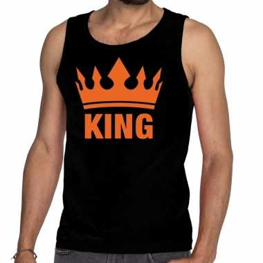 Zwart king en kroon tanktop / mouwloos shirt voor heren
