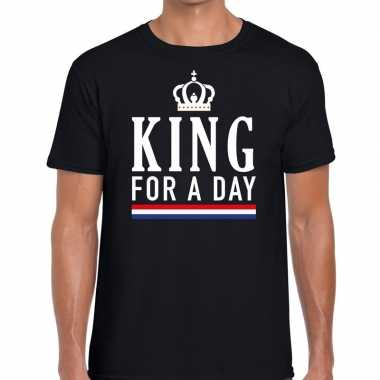 Zwart king for a day t-shirt voor heren