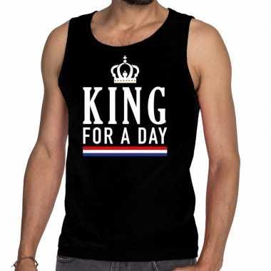 Zwart king for a day tanktop / mouwloos shirt voor heren