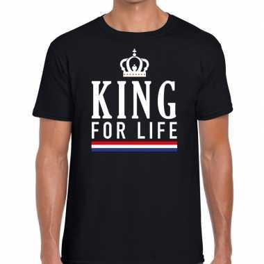 Zwart king for life t-shirt voor heren