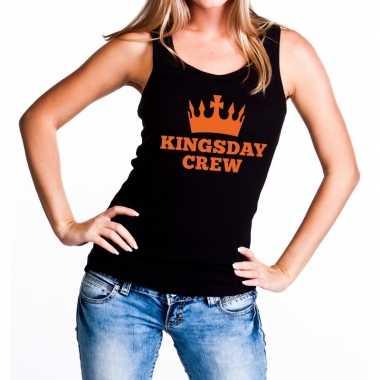Zwart kingsday crew tanktop / mouwloos shirt voor dames