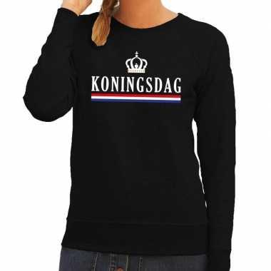 Zwart koningsdag en hollandse vlag sweater dames