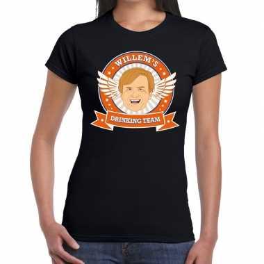 Zwart koningsdag willem drinking team t-shirt dames