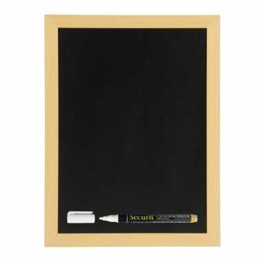 Zwart krijtbord met teak houten rand 30 x 40 cm inclusief stift