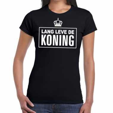 Zwart lang leve de koning t-shirt dames