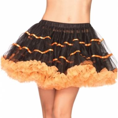 Zwart met oranje luxe petticoat