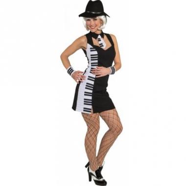 Zwart met wit jurkje piano print