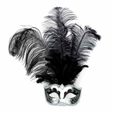 Zwart met zilver veren oogmasker