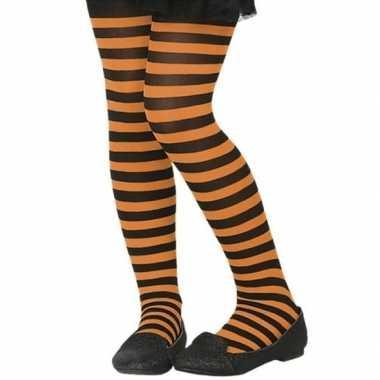 Zwart/oranje verkleed panty voor kinderen