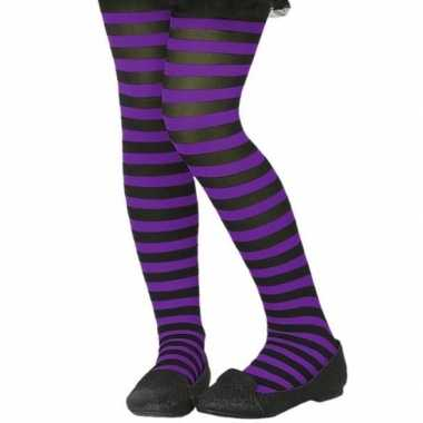 Zwart/paarse verkleed panty voor kinderen