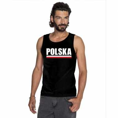 Zwart polen supporter singlet shirt/ tanktop heren