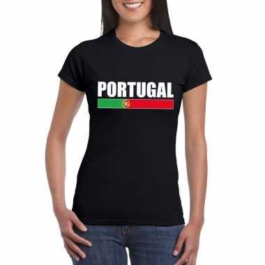 Zwart portugal supporter t-shirt voor dames