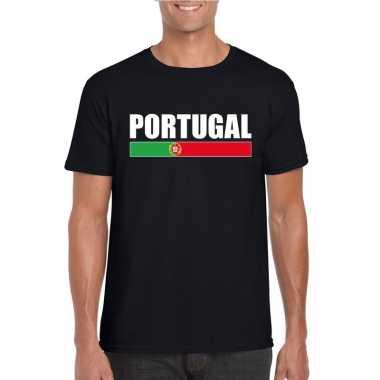 Zwart portugal supporter t-shirt voor heren