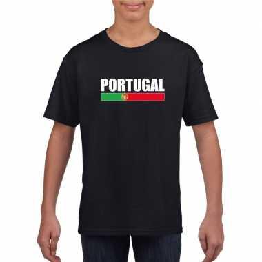 Zwart portugal supporter t-shirt voor kinderen