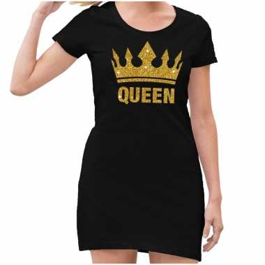 Zwart queen gouden glitter kroon jurkje dames