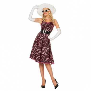 Zwart rockabilla jurkje met roze polkadots