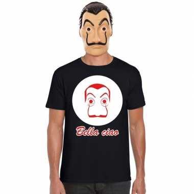 Zwart salvador dali t-shirt met la casa de papel masker heren