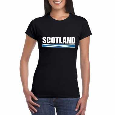 Zwart schotland supporter t-shirt voor dames