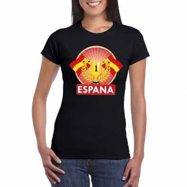Zwart spanje supporter kampioen shirt dames