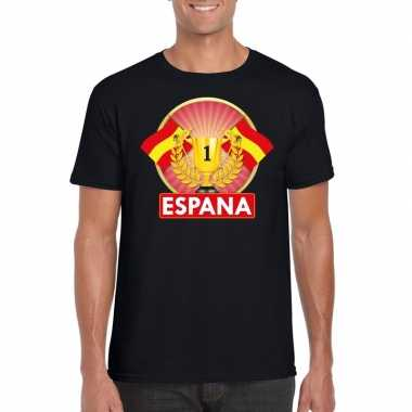Zwart spanje supporter kampioen shirt heren
