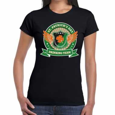 Zwart st. patricks day drinking team t-shirt dames