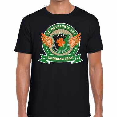 Zwart st. patricks day drinking team t-shirt heren