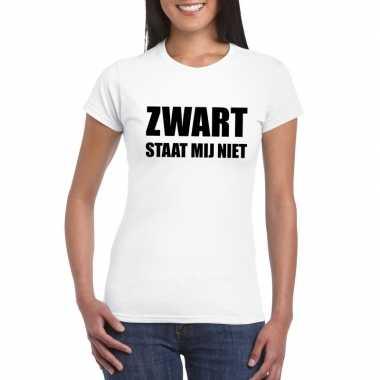 Zwart staat mij niet t-shirt wit dames