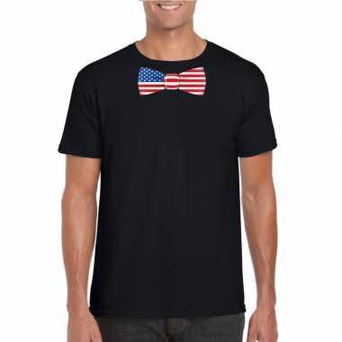 Zwart t-shirt met amerika vlag strikje heren