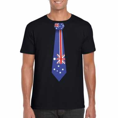 Zwart t-shirt met australie vlag stropdas heren