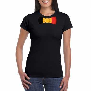 Zwart t-shirt met belgie vlag strikje dames