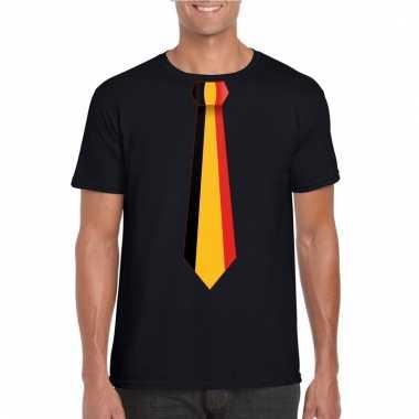 Zwart t-shirt met belgie vlag stropdas heren