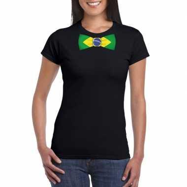 Zwart t-shirt met brazilie vlag strikje dames